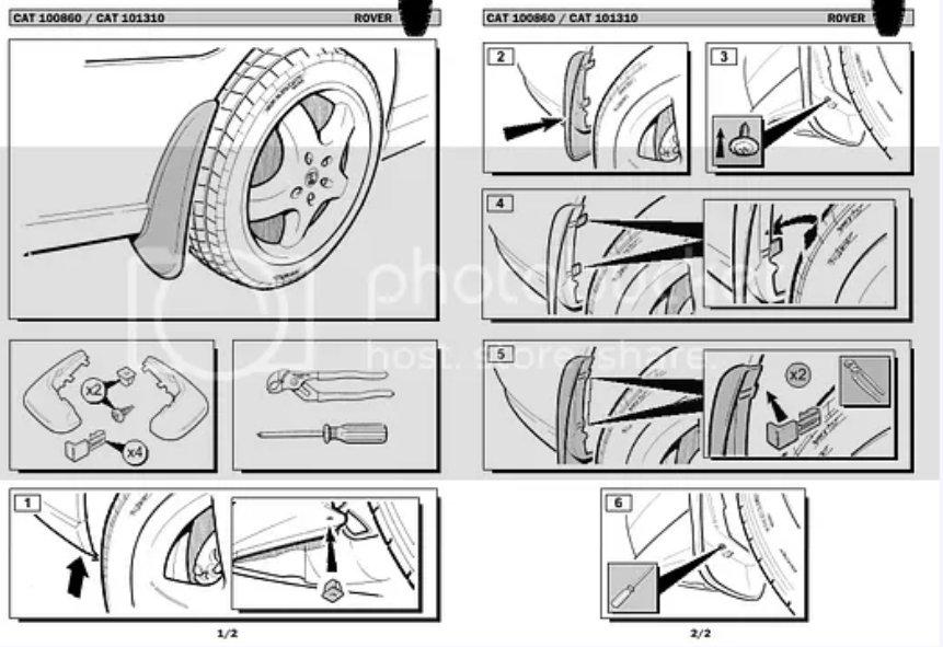 Rear mudflaps fitting instructions